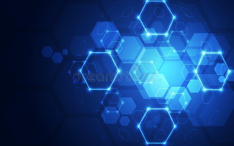 Fondo abstracto de las conexiones del plexo con el concepto de la tecnología, ejemplo del vector stock de ilustración