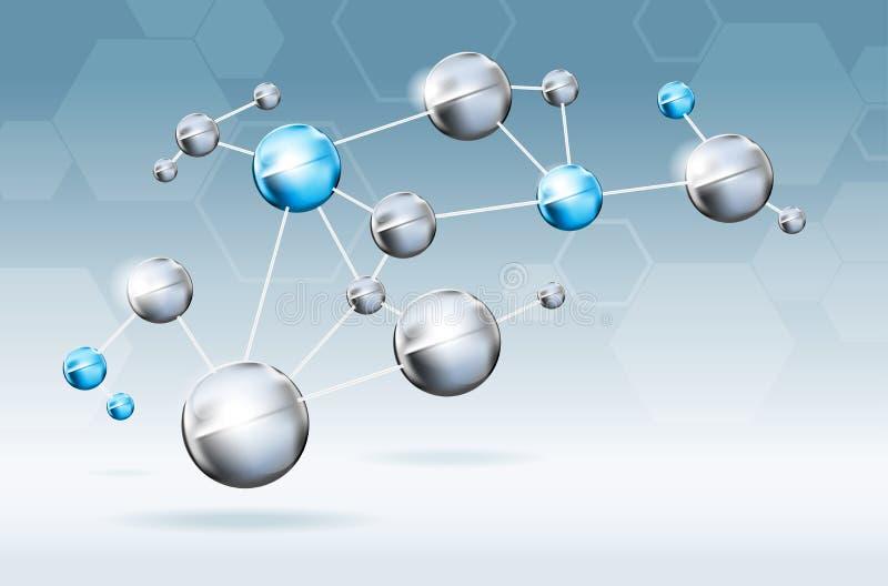Fondo abstracto de las moléculas ilustración del vector