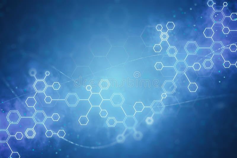 Fondo abstracto de las moléculas de la DNA ilustración del vector