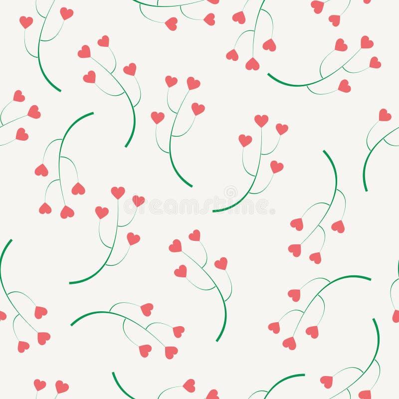 Fondo abstracto de las ramas con los corazones ilustración del vector