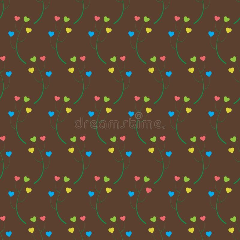 Fondo abstracto de las ramas con los corazones stock de ilustración