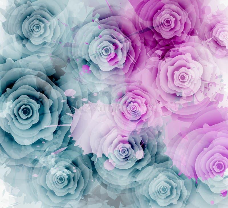 Fondo abstracto de las rosas stock de ilustración