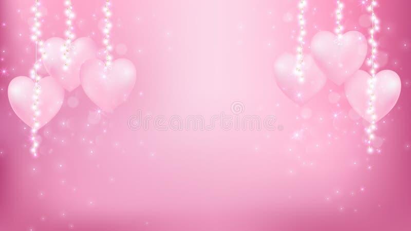 Fondo abstracto de las tarjetas del día de San Valentín como momento romántico ilustración del vector