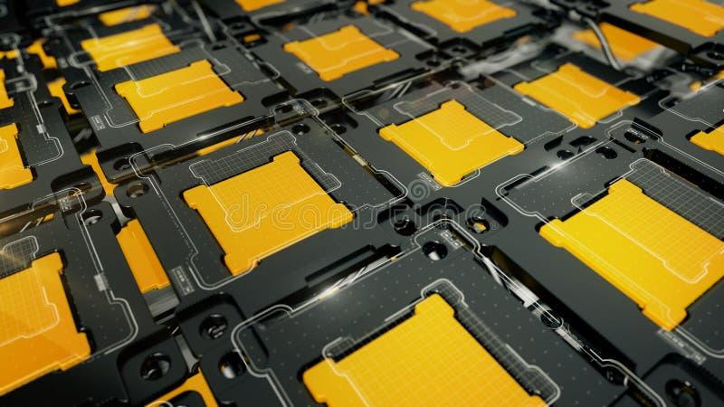 Fondo abstracto de las TIC con las células amarillas imagen de archivo