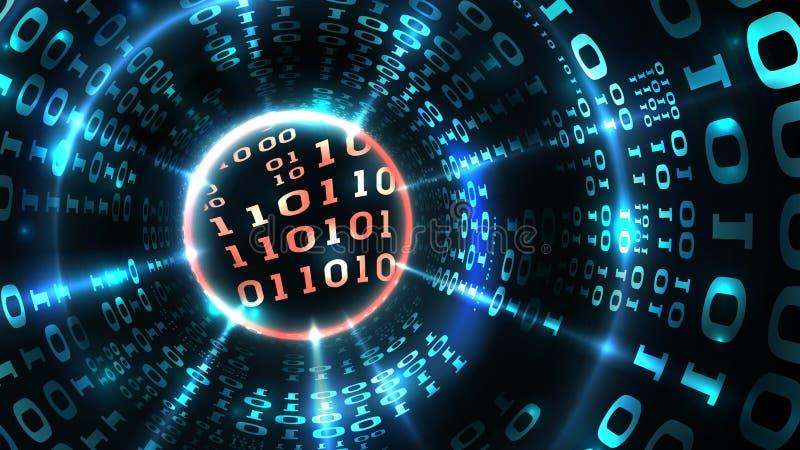 Fondo abstracto de los datos del ordenador que programa el código binario, secuencia de datos, cortafuego abstracto Cortar el sis libre illustration