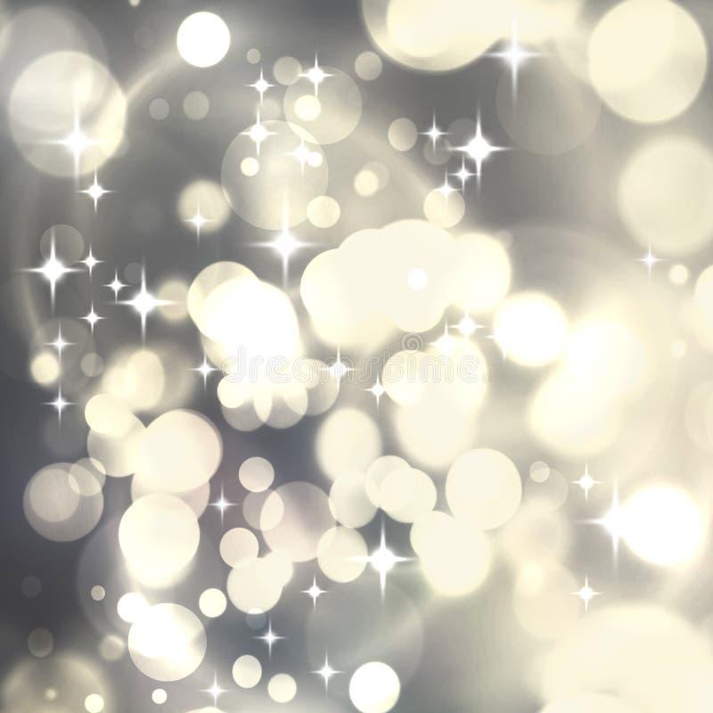 Fondo abstracto de lujo de plata ligero de la Navidad con el sno blanco imagen de archivo