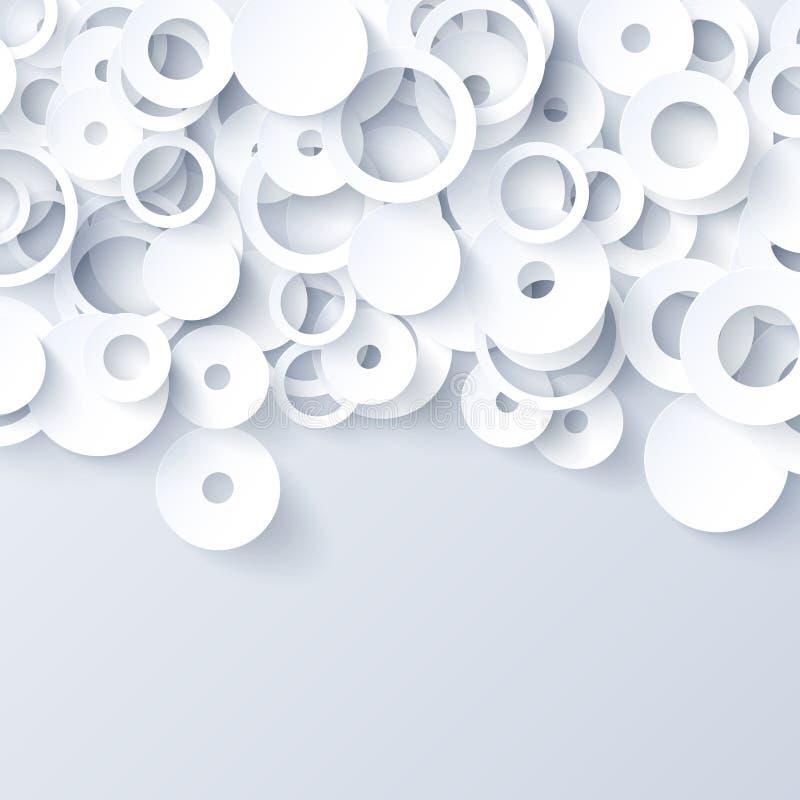 Fondo abstracto de papel blanco y gris ilustración del vector