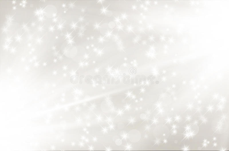 Fondo abstracto de plata con los rayos y las estrellas brillantes ilustración del vector