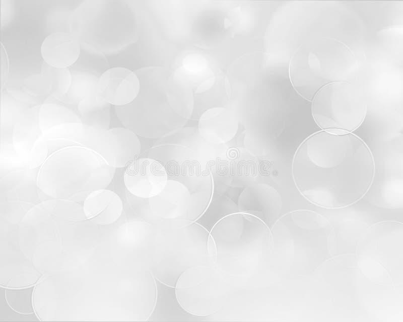 Fondo abstracto de plata ligero con los copos de nieve blancos stock de ilustración