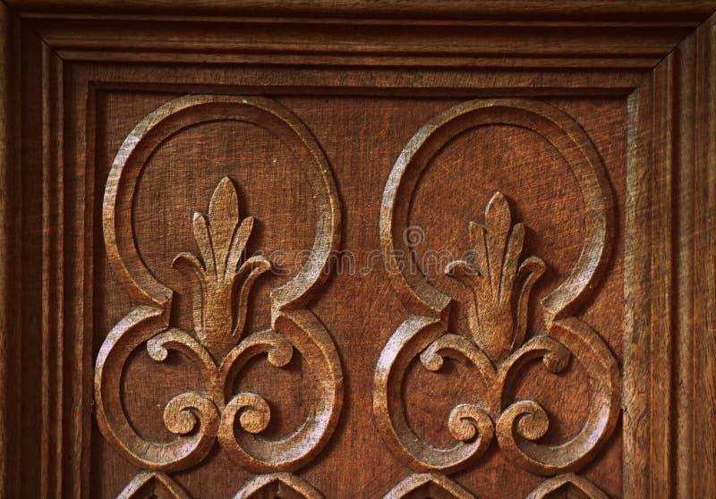 Fondo abstracto de talla de madera antiguo de la textura de la superficie del modelo del grunge del detalle del vintage fotos de archivo