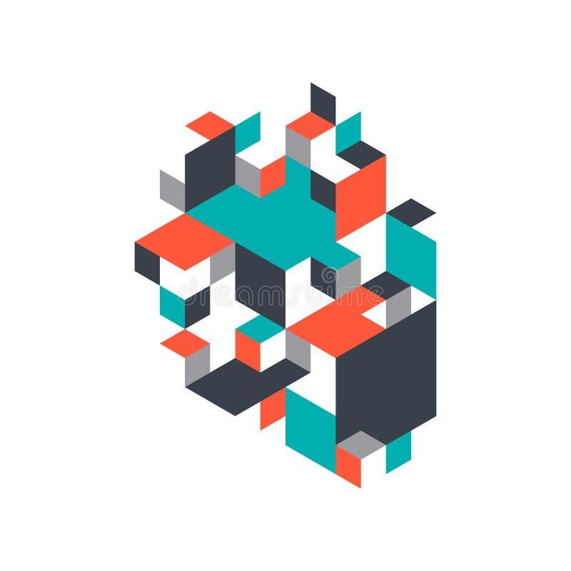 Fondo abstracto decorativo con forma isométrica libre illustration