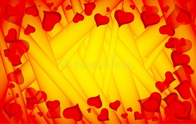 Fondo abstracto del amor del vector por completo de corazones Marco del d?a de tarjetas del d?a de San Valent?n para la tarjeta c stock de ilustración
