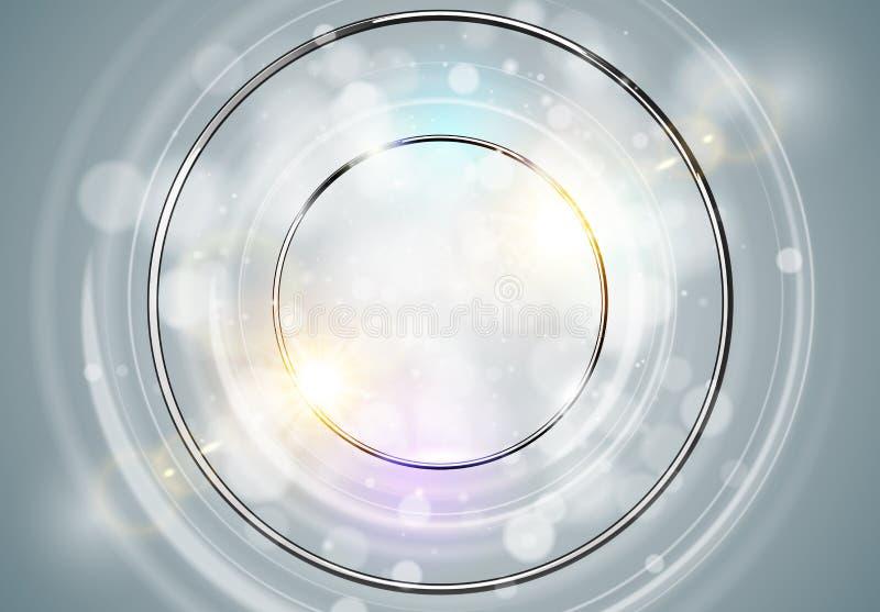 Fondo abstracto del anillo Marco redondo del brillo del cromo del metal con los círculos ligeros y el efecto luminoso de la chisp stock de ilustración