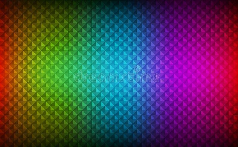 Fondo abstracto del arco iris que consiste en triángulos coloreados con diversa transparencia ilustración del vector