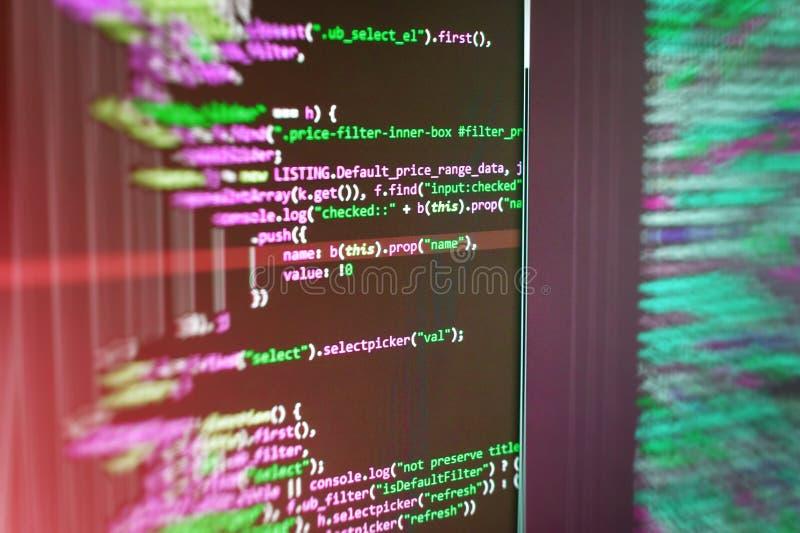Fondo abstracto del código fuente Supervise el primer del código fuente de la función Desarrollador móvil del app fotografía de archivo