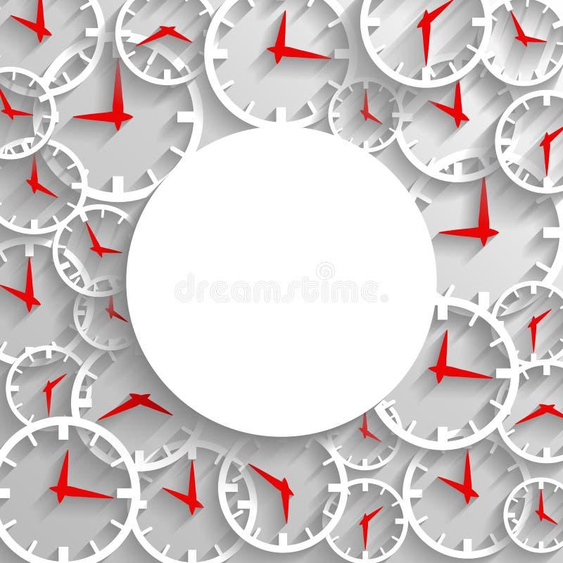 Fondo abstracto del cartel de la maqueta del tiempo, reloj análogo 3D con el marco stock de ilustración