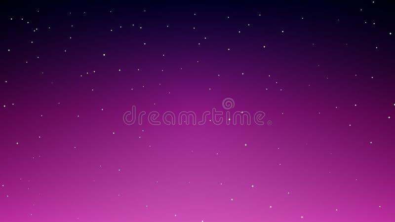 Fondo abstracto del cielo azul-violeta estrellado de la noche stock de ilustración
