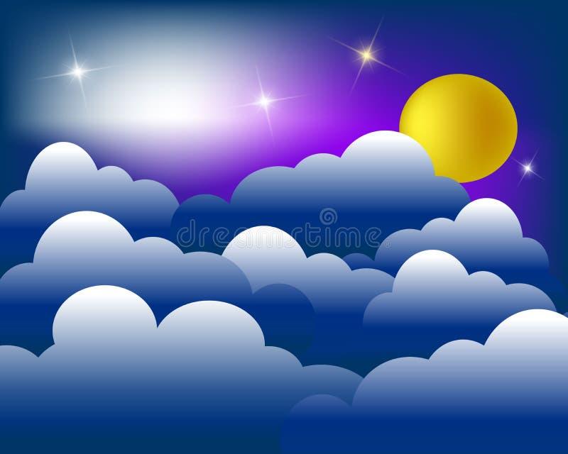 Fondo abstracto del cielo que brilla intensamente con las estrellas, la luna y las nubes brillantes Ilustración del vector Diseño ilustración del vector