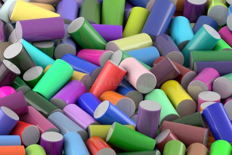Fondo abstracto del cilindro brillante coloreado aleatoriamente dispuesto ilustración del vector