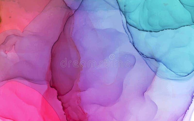 Fondo abstracto del color brillante del vector de la tinta del alcohol stock de ilustración