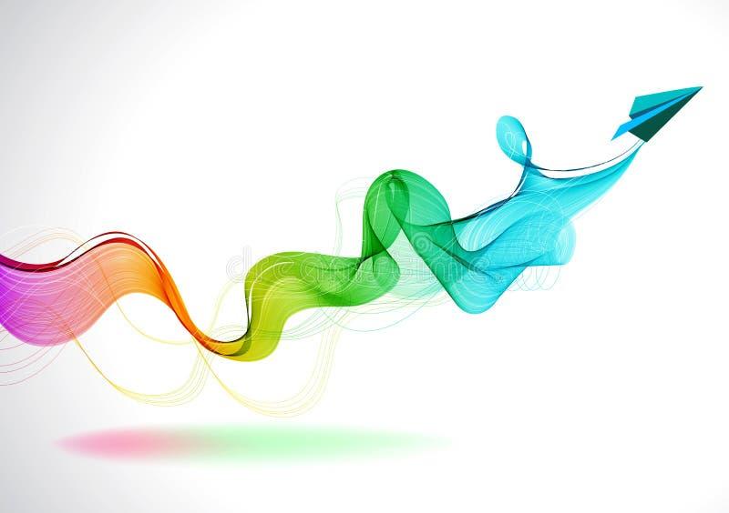 Fondo abstracto del color con el avión de aire de papel stock de ilustración
