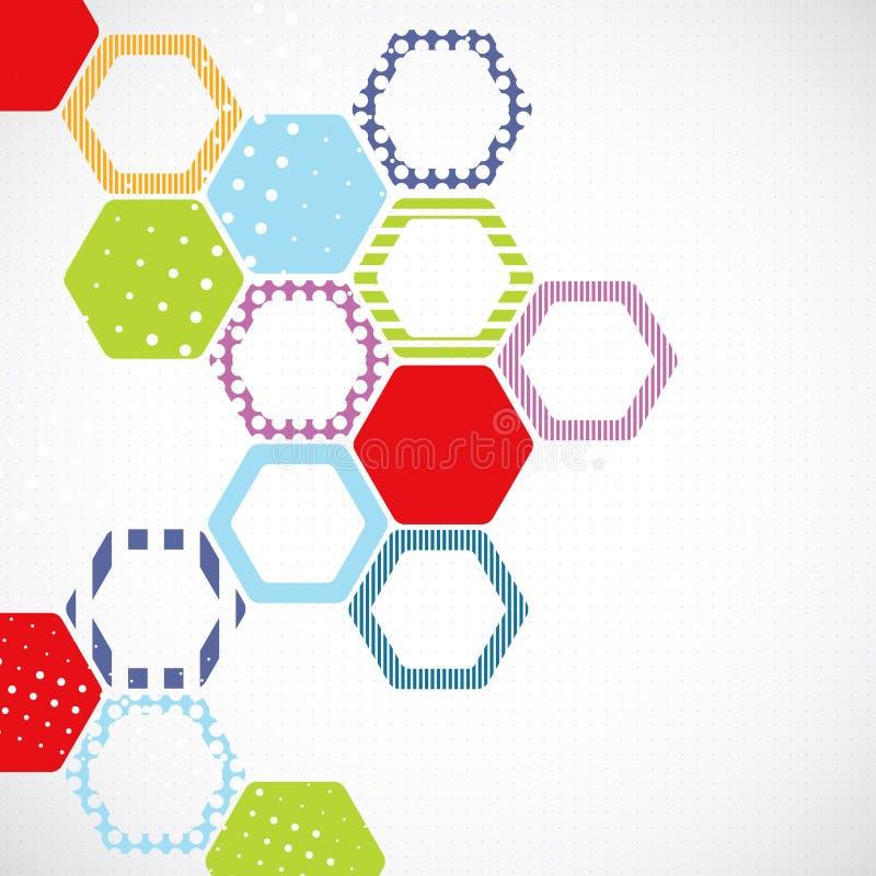 Fondo abstracto del color con hexágonos ilustración del vector