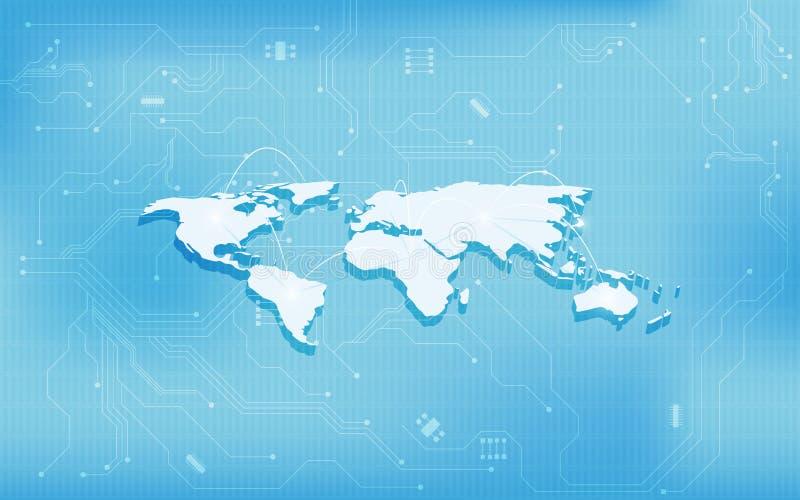 Fondo abstracto del concepto de diseño de la textura del circuito digital de la tecnología del mapa del mundo 3d stock de ilustración