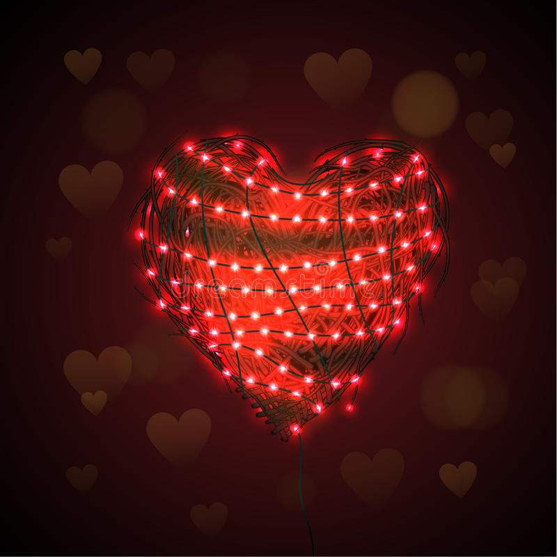 Fondo abstracto del corazón con la guirnalda luminosa ilustración del vector