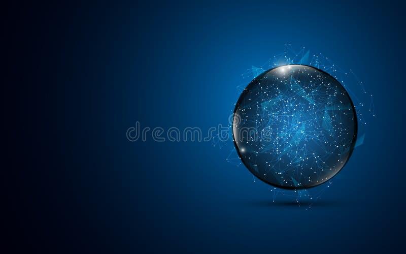 Fondo abstracto del diseño de concepto del establecimiento de una red de Internet de la tecnología de la conexión de la esfera ilustración del vector