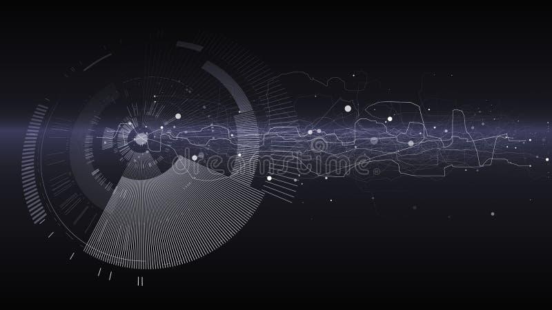 Fondo abstracto del diseño de la tecnología Papel pintado de la tecnología de la ingeniería hecho con las líneas, puntos, círculo stock de ilustración
