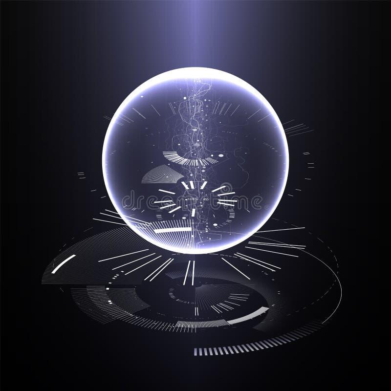 Fondo abstracto del diseño de la tecnología Papel pintado de la tecnología de la ingeniería hecho con las líneas, puntos, círculo ilustración del vector