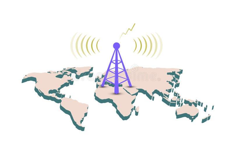 Fondo abstracto del diseño del mapa del mundo de la telecomunicación de la muestra de la antena ilustración del vector