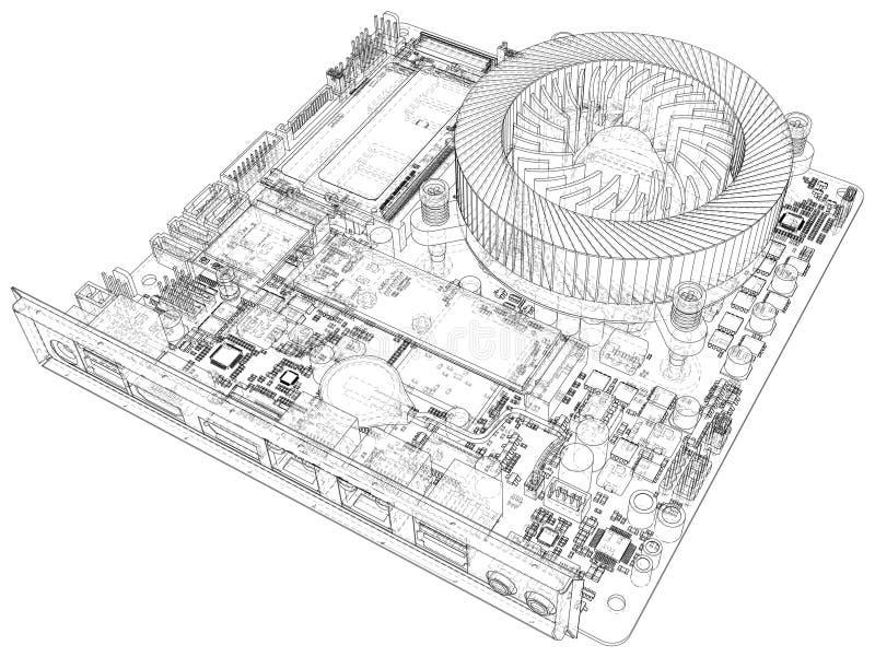 Fondo abstracto del ejemplo de la placa madre de la tecnolog?a Ejemplo creado de 3d libre illustration