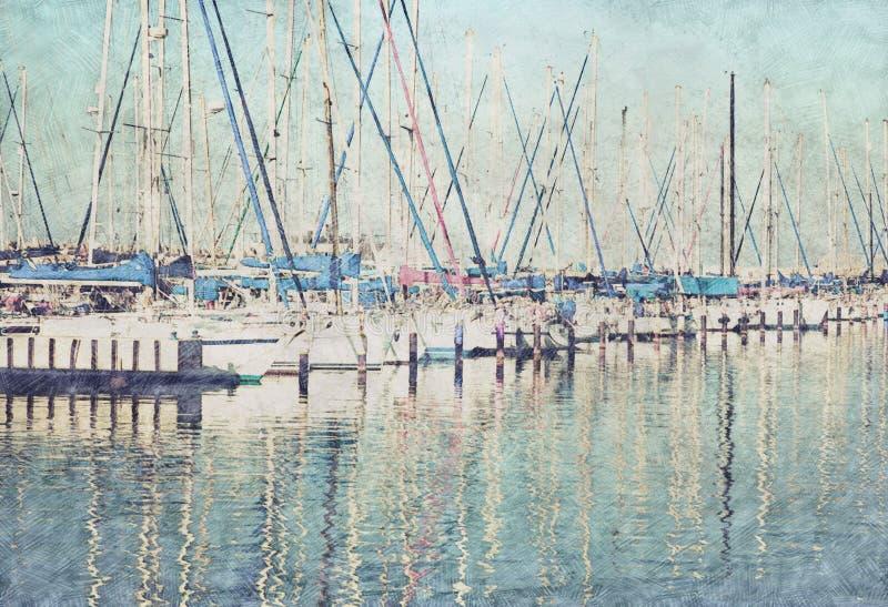 Fondo abstracto del embarcadero del puerto deportivo con los barcos Estilo de la pintura del bosquejo del lápiz stock de ilustración