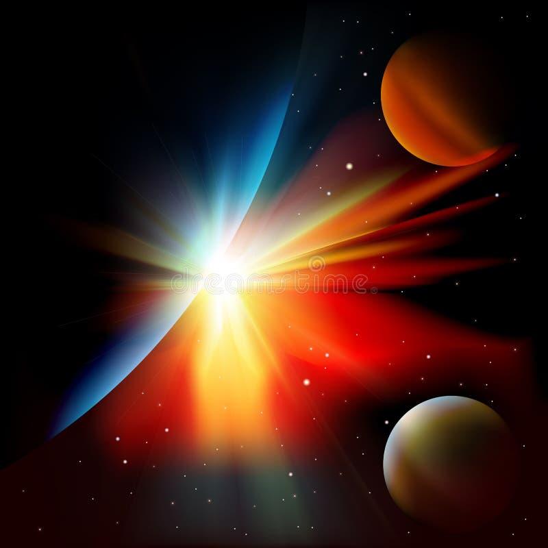 Fondo abstracto del espacio con las estrellas stock de ilustración