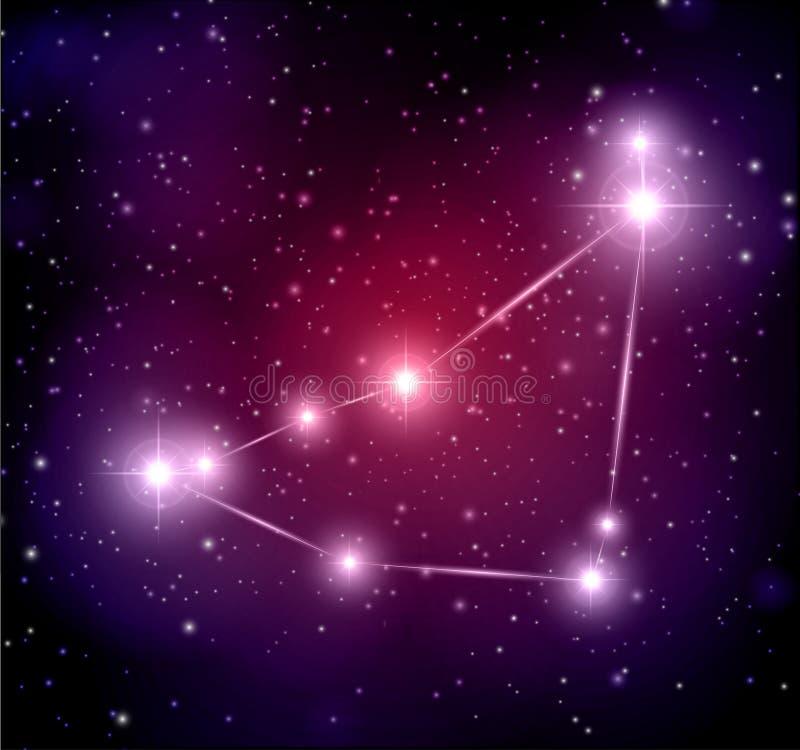 Fondo abstracto del espacio con las estrellas y la constelaci?n del Capricornio stock de ilustración