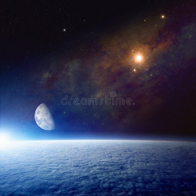 Fondo abstracto del espacio con tierra, la luna y la supernova foto de archivo libre de regalías