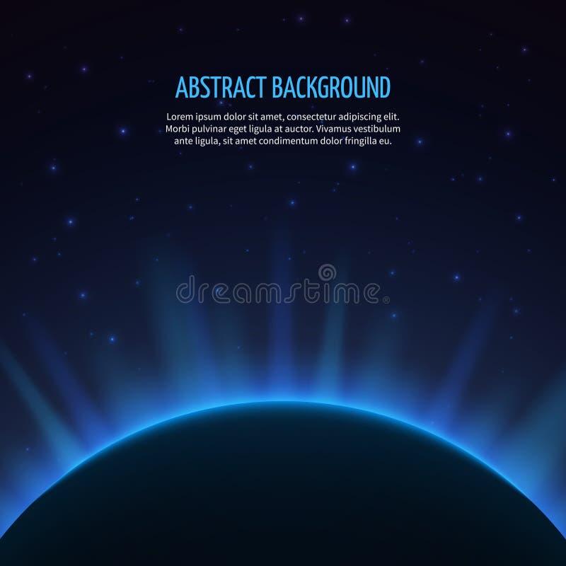 Fondo abstracto del espacio de vector con el planeta y stock de ilustración