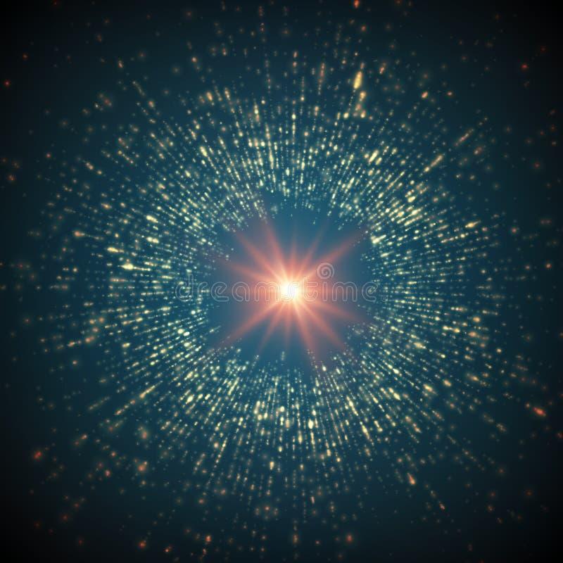 Fondo abstracto del espacio de vector Explosión de partículas que brillan intensamente Estilo futurista de la tecnología stock de ilustración