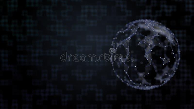 Fondo abstracto del espacio digital con cifrado de partículas que cubren un planeta libre illustration