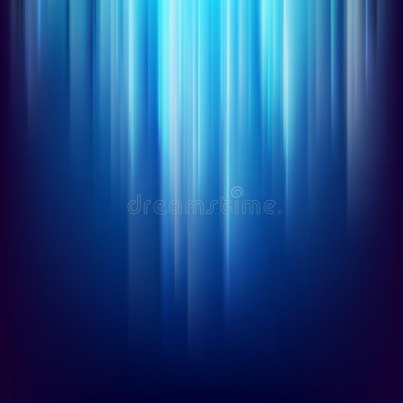 Fondo abstracto del espacio oscuro con las líneas ligeras azules que brillan intensamente EPS 10 stock de ilustración