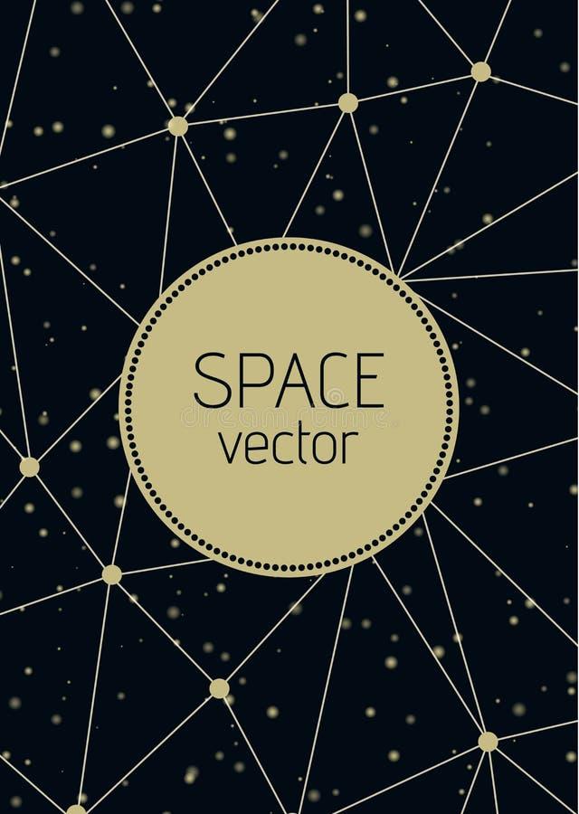 Fondo abstracto del espacio del polígono del vector con el ejemplo de las estrellas stock de ilustración