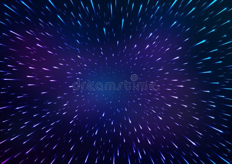 Fondo abstracto del espacio Vuelo con hyperspace Ilustración del vector ilustración del vector