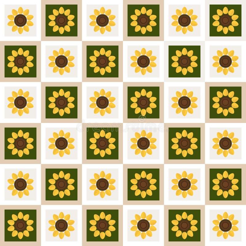Fondo abstracto del estampado de flores con los cuadrados y los girasoles coloridos ilustración del vector