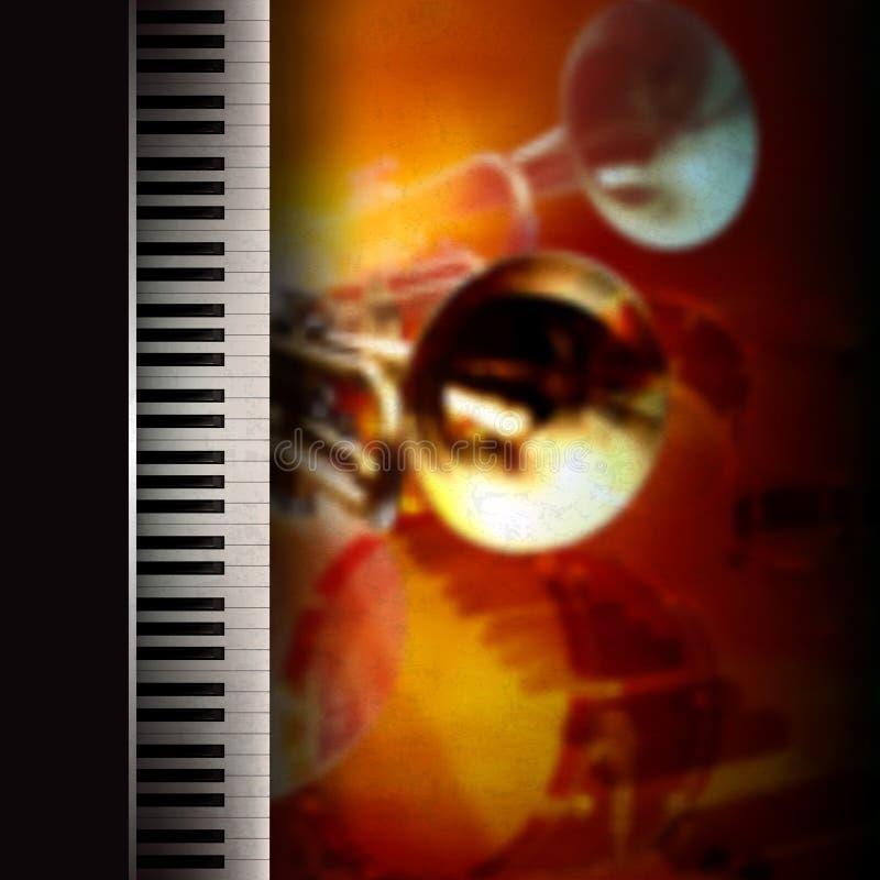 Fondo abstracto del grunge con el piano y la trompeta stock de ilustración
