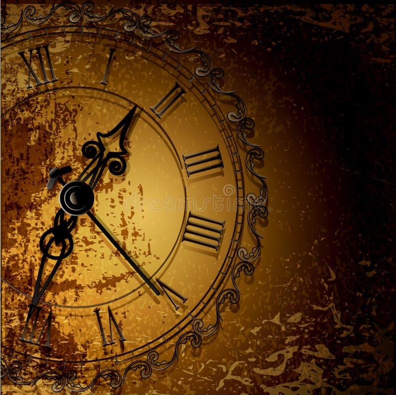 fondo abstracto del grunge con los relojes antiguos ilustración del vector