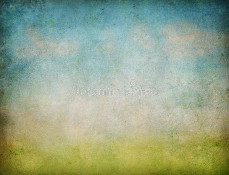 Fondo abstracto del grunge del paisaje del cielo y de la hierba imagen de archivo