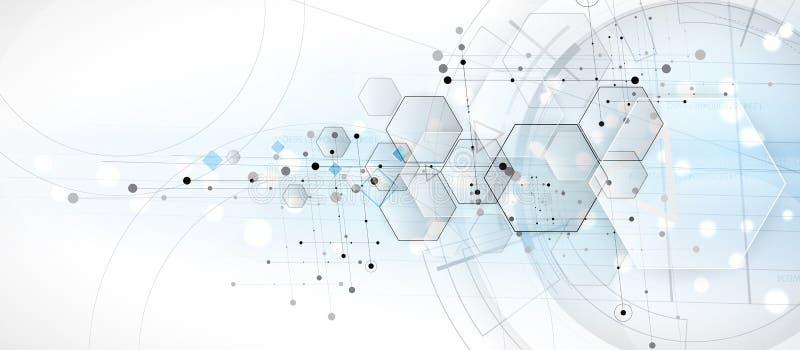 Fondo abstracto del hexágono Diseño poligonal de la tecnología Digita ilustración del vector