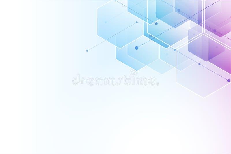 Fondo abstracto del hexágono Diseño poligonal de la tecnología Minimalismo futurista de Digitaces libre illustration