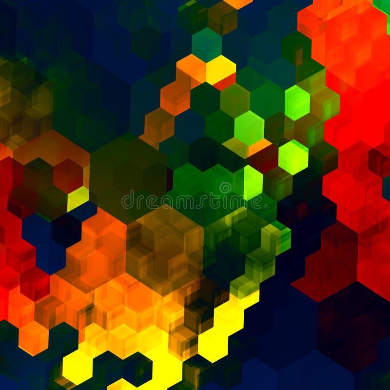 Fondo abstracto del mosaico Modelo caótico colorido azulverde rojo Gama de colores de color Art Design gráfico Arco iris y maripo ilustración del vector